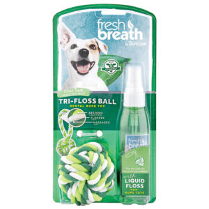 Bộ đồ chơi và bình xịt răng miệng cho chó TropiClean Liquid Floss & Triflossball