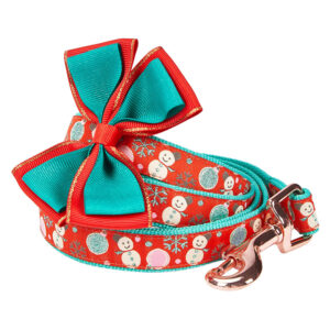 Dây dắt kèm nơ đeo cổ cho chó Blueberry Pet Christmas Snowman